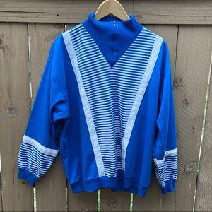 Vintage Quarter-Zip Horizontal Stripe Trac Jacket